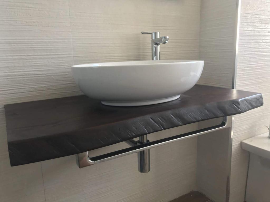 Piano Per Lavabo Da Appoggio mensola in legno di frassino colore nero 120x50 cm