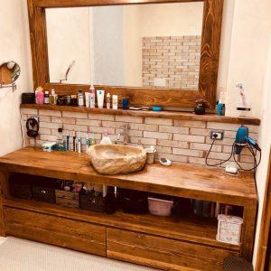 Offerta mobile da bagno Laura in legno massello rustico