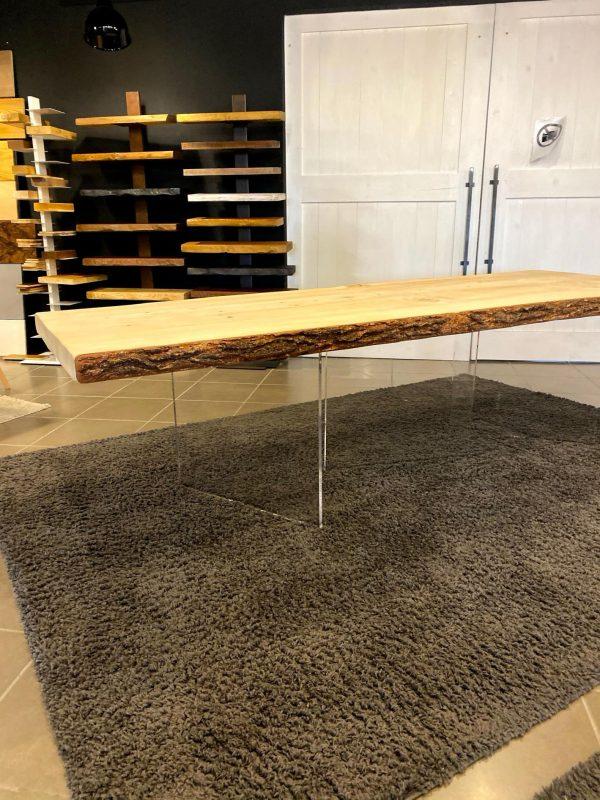 tavolo in legno massello da pranzo in legno di cedro del libano gambe in plexiglass