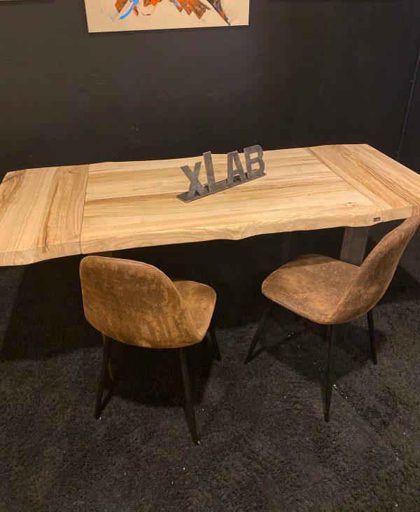 Tavolo da cucina piccolo allungabile 120x80 cm in legno massello di castagno naturale