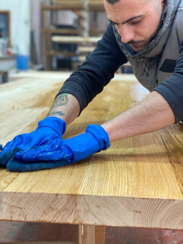 idrowood x 100 finitura idrorepellente tavolo in legno massello bordi rustici naturali xlab design