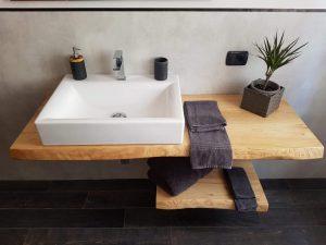 Mensola bagno doppia con ripiano in legno massello di castagno per lavabo da appoggio