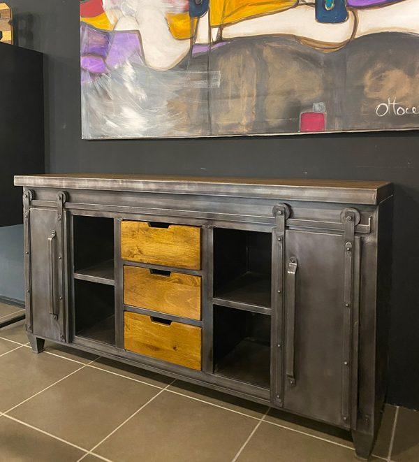 credenza ante cassetti ferro legno stile industriale