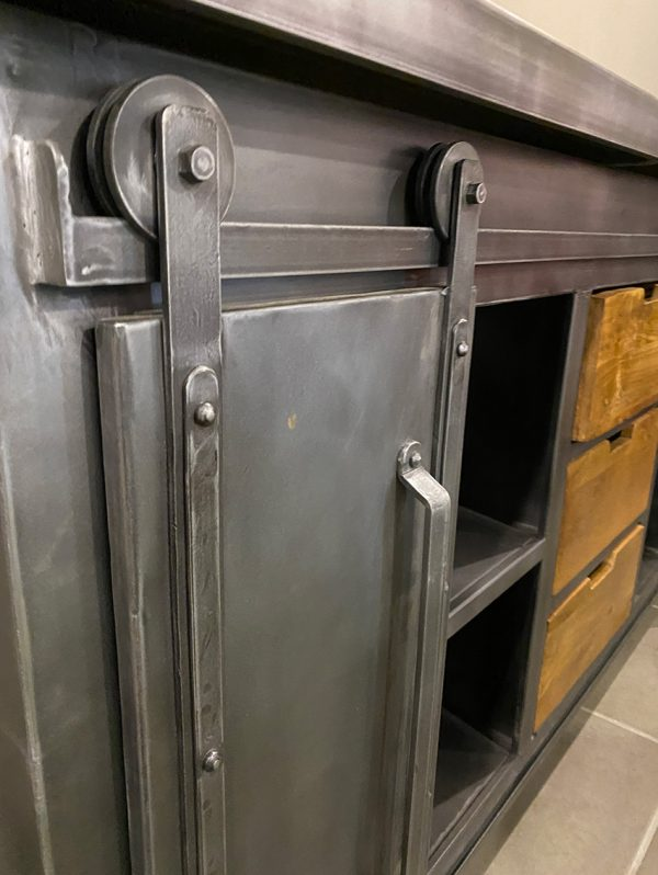 credenza stile industriale legno e ferro ante scorrevoli xlab design