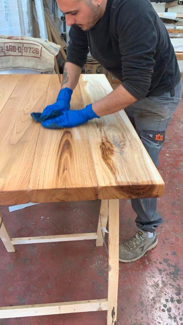 finitura olio tavolo legno massello da cucina xlab design