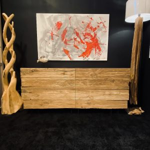 Credenza per soggiorno in legno con cassetti con misure L 200, P 50 e H 92 cm.