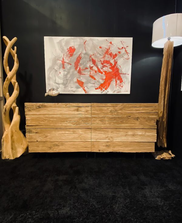 credenza madia soggiorno in legno massello antico con cassetti