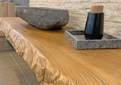 Mensola da bagno in legno grezzo di castagno Val di Fiemme