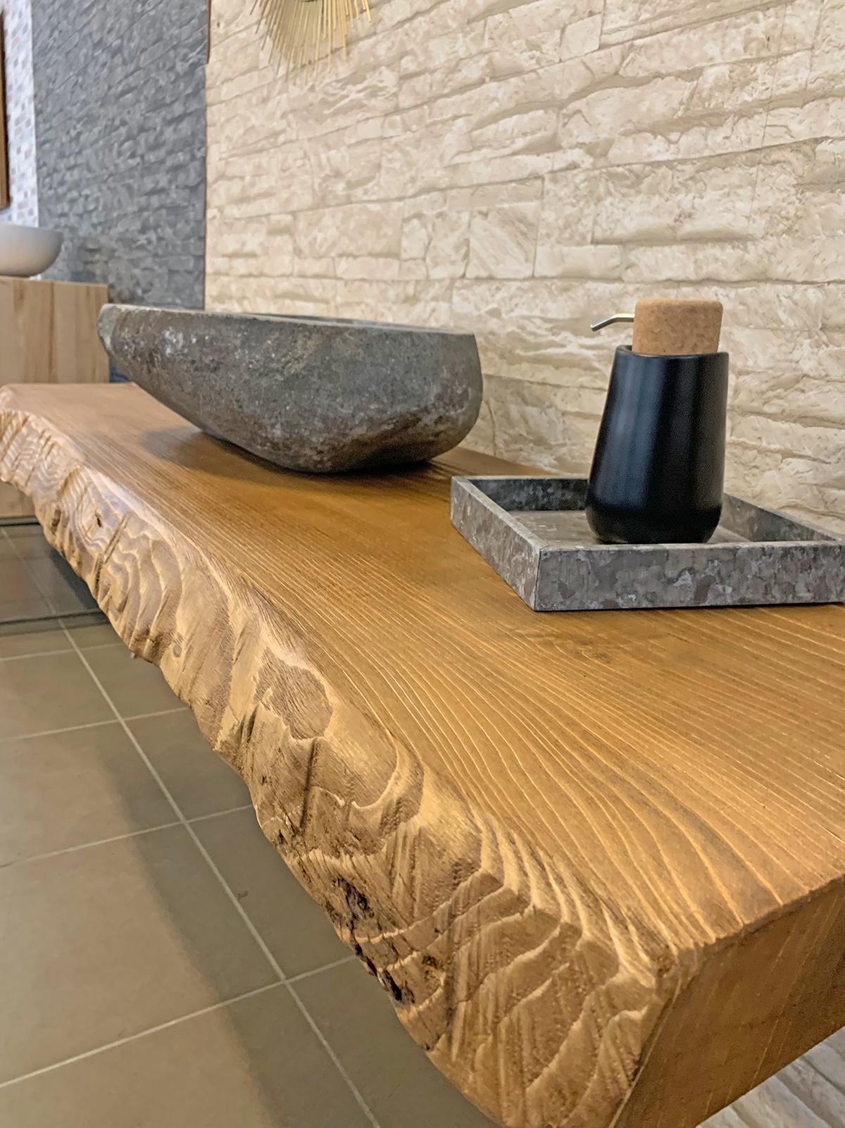 Mensola bagno in legno grezzo di castagno Val di Fiemme