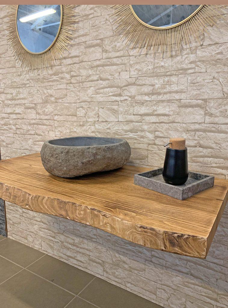 Mensola legno grezzo per lavabo da appoggio