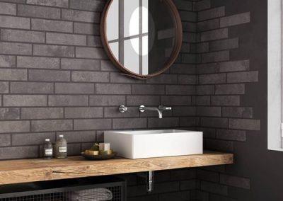 Mensola top bagno piano lavabo in legno massello di rovere