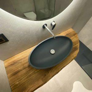 Mensole per lavabo in legno grezzo