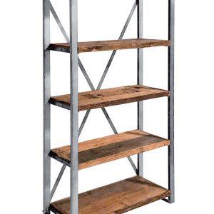 """Mobile libreria con struttura in metallo con ripiani legno antico, stile industriale """"Oakland"""""""
