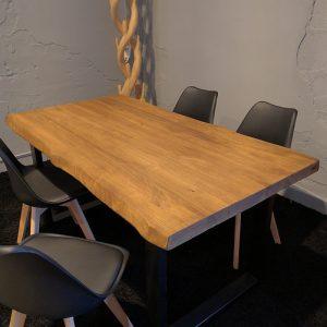 Tavolo da cucina in legno massello di castagno colore teak
