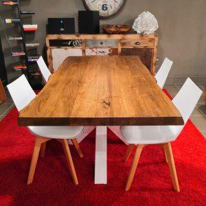 Offerta tavolo da pranzo in legno massello da esposizione colore teak