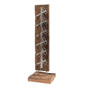 Portabottiglie vino cantinetta da terra in legno antico e ferro