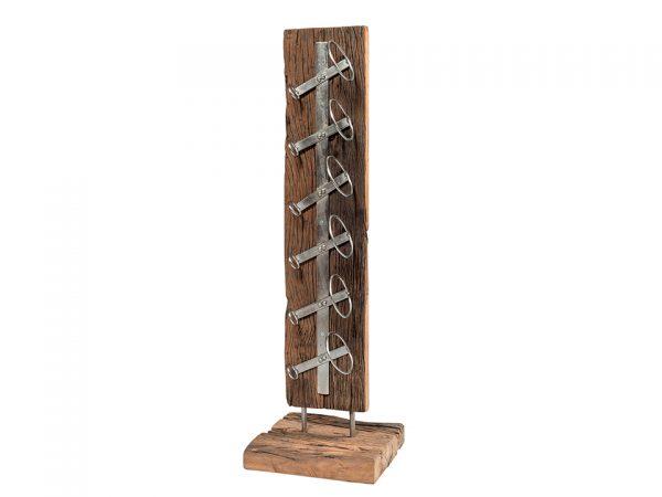 porta bottiglie vino in legno antico con supporti in ferro