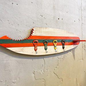Appendiabiti da parete tavola surf board  in legno con ganci Vintage