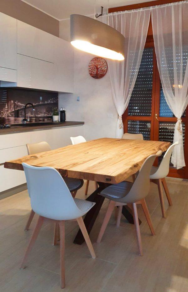 tavolo da cucina legno massello gamba stella ruggine design moderno xlab