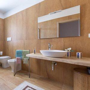 Top bagno in legno massello per lavabo da appoggio 150x50x6 mod. Mia