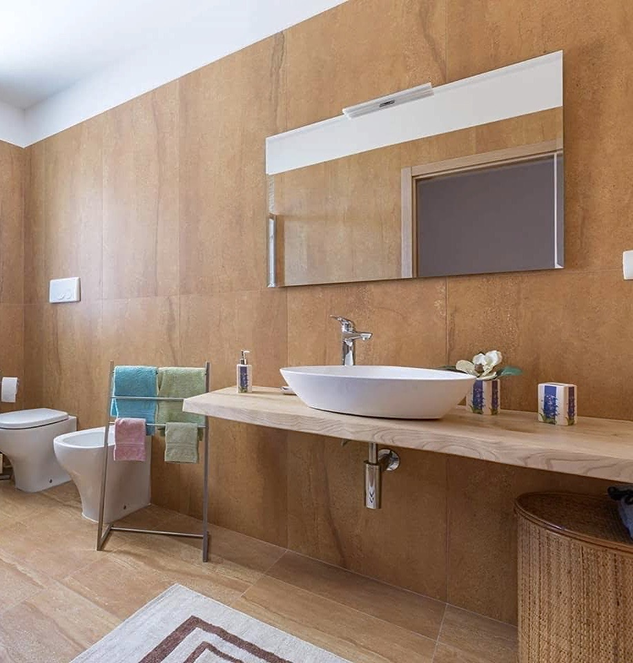 Lavandini Rustici In Pietra top bagno in legno massello per lavabo da appoggio 150x50x6 mod. mia