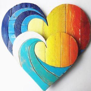Decorazione da parete cuore color in legno di recupero made in italy