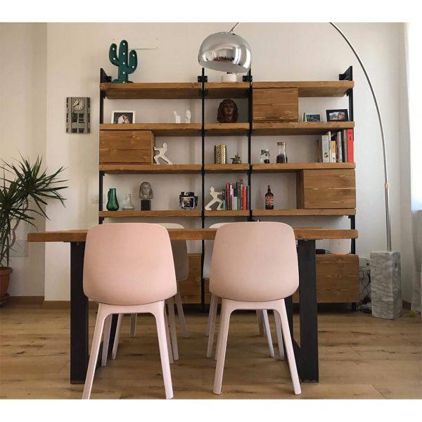 libreria da parete legno e ferro stile industriale xlab design