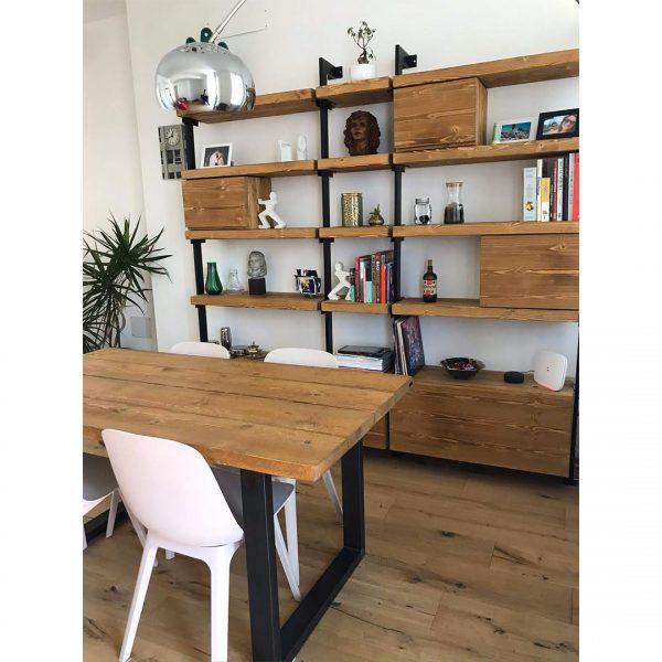 libreria da parete di design in legno e ferro xlab