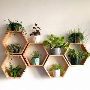 """Mensola scaffale esagonale da parete in legno modello """"Bee"""""""