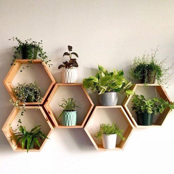 mensola scaffale esagonale da parete in legno
