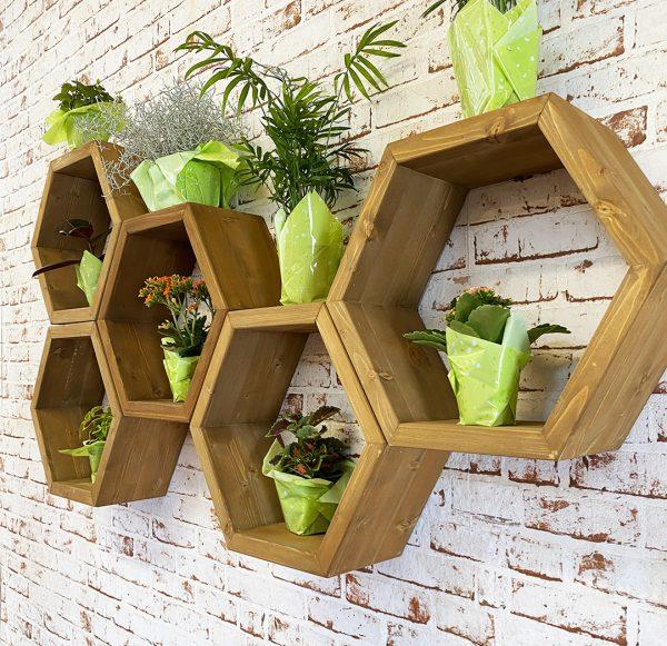 pensile scaffale esagonale in legno da muro
