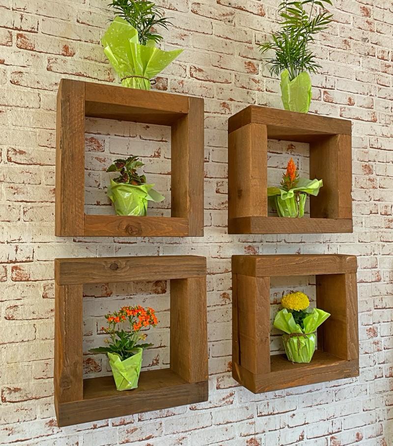 Cubi in legno da parete con piante da interno | Sconto -30 ...