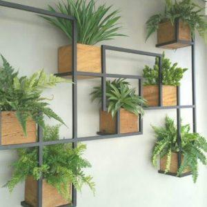 Scaffale da parete per piante decorative legno e ferro