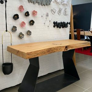 Tavolo consolle da ingresso ferro e legno stile industriale Freddie