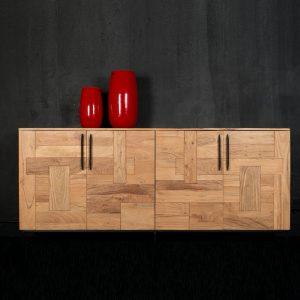 Credenza Kolding in legno esotico con tre ante