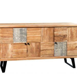 Credenza Darby in legno esotico con tre sportelli e decorazione a quadri