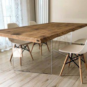 Tavolo da cucina legno massello gambe trasparenti in plexiglass modello Jerry 160×90