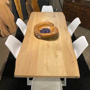 Tavolo legno massello Rovere naturale 200×90 + 6 sedie colore bianco