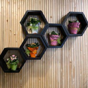 """Mensola scaffale esagonale da parete in legno colore Black modello """"Bee"""""""