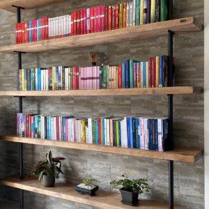 Libreria da parete stile industriale legno di recupero e ferro grezzo Leopolda 180 x 250 x 30 cm