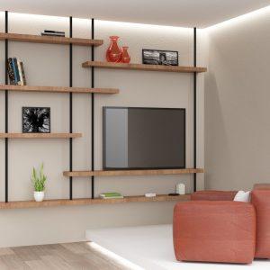 Mobile libreria e porta TV da soffitto con mensola in legno di rovere naturale – Semplicemente