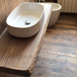 Mensola top da bagno in legno rustico per lavabo in appoggio idrorepellente antibatterica – Pollina