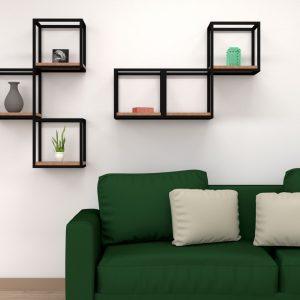 idee per arredare cubi ferro e legno da parete 35x35x25 cm