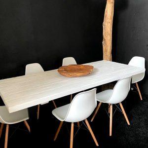 Tavolo industriale in legno bianco di larice Luce