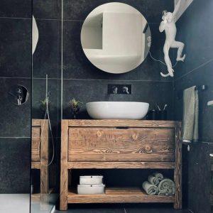 Mobile da bagno in legno rustico per lavabo con cassetto – Valentina