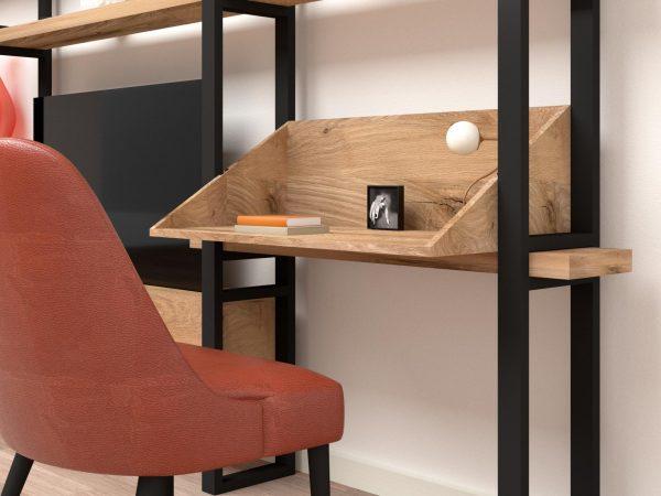 Libreria legno massello rovere scrivania ferro