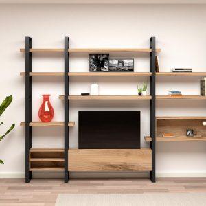 legno rovere massello libreria ferro industriale mensole