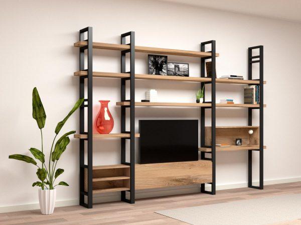 Massello legno libreria ferro scrivania