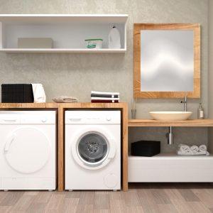 Mobile bagno lavanderia di design con lavabo appoggio in stile moderno – Bianca