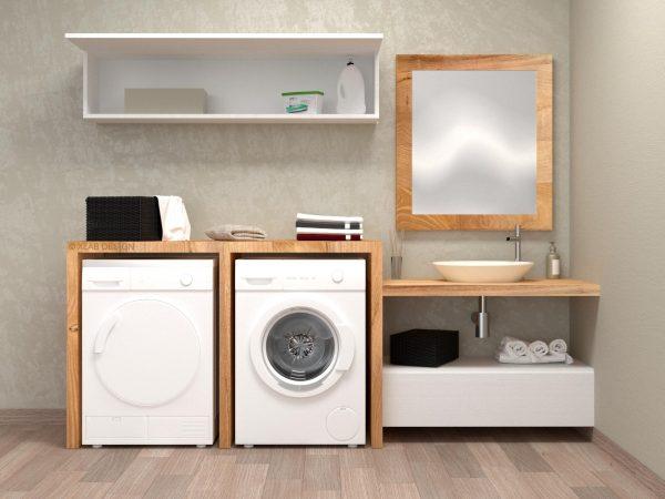 lavanderia legno bagno mobile rovere